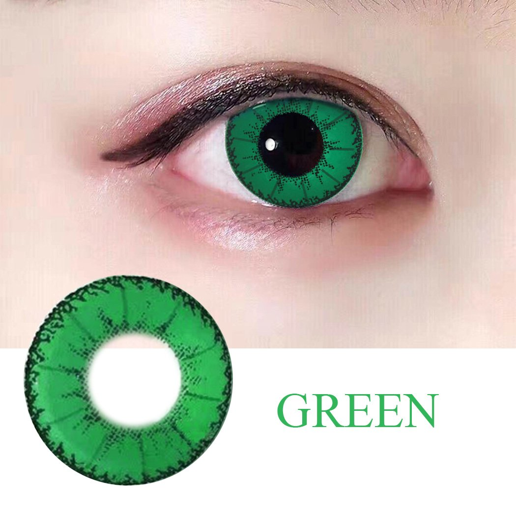 Women Multi-Color Colored Cute Charm and Attractive Fashion Contact Lenses Cosmetic Makeup Eye Shadow (Type 1, Green)