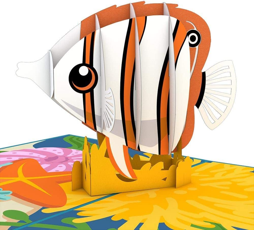Lovepop Copperband Butterflyfish 3-D Pop-Up Greeting Card