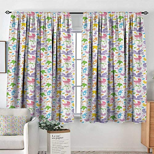 HOMEDECORATIONS Baby Window Curtain Drape Stork with Newborn Bunny Toys Milk Bottles Infant Item Silhouettes Stroller Cartoon Drapes for Living Room 55
