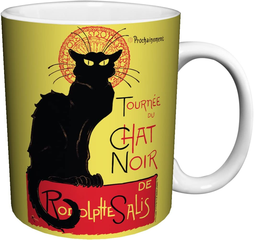 Mug 11 Oz Black Cat Cabaret Tea, Cocoa Theophile Steinlen Chat Noir Vintage Advertising Art Ceramic Gift Coffee