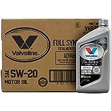 Valvoline Advanced Full Synthetic SAE 5W-20 Motor Oil 1 QT, Case of 6