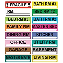 750 LARGER MOVING LABELS, 3-Bedroom House, 50 per Living Space, 14 Living Spaces PLUS 25 FRAGILE AND 25 BLANK, For Use on Boxes- Golden Spearhead