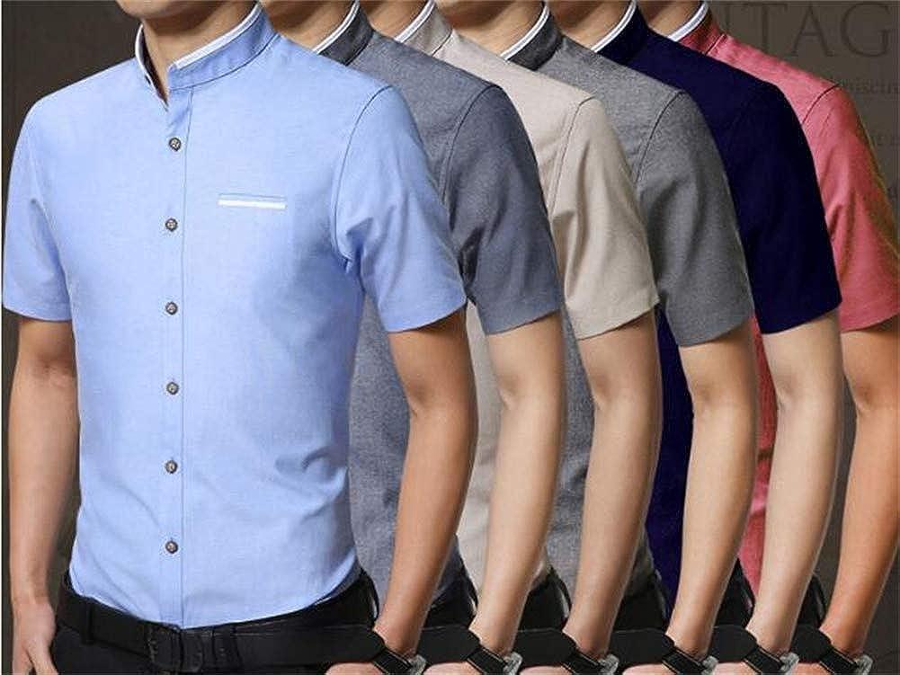 Mens Short Sleeve Shirt Slim Business Short Sleeve Casual Stand Collar Shirt