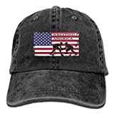 American Flag Wrestling Men's Or Women's Cotton Denim Fabric Sun Hat Adjustable Jeans Baseball Hat