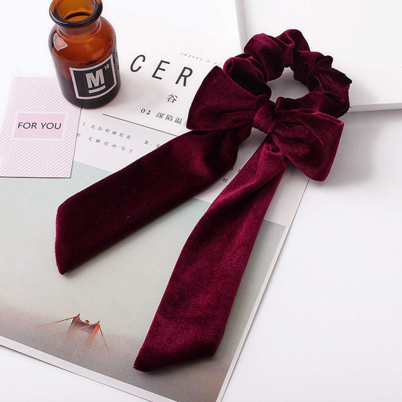 aixingwuzi Preferred Elastic Velvet Ribbon Bow Hair Tie Rope Lady Hair Band Scrunchies Ponytail New