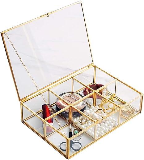 Levilan Caja de Cristal Dorado Vintage Transparente y latón Metal para Guardar Joyas y cosméticos, Organizador de brochas de Maquillaje, Pantalla de Belleza, 6 Compartimentos: Amazon.es: Hogar