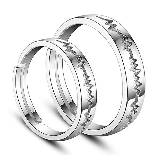 Par de anillos Sweetiee de plata de ley 925 con diseño de frecuencia cardí
