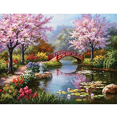 MXJSUA DIY 5D Diamond Painting by Number Kits Full Drill Rhinestone Embroidery Cross Stitch Pictures Arts Craft for Home Wall Decor,Peach Blossom Bridge-14x18In