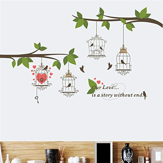 Etiqueta de la pared pájaro grande jaula de pájaros rama flor ...