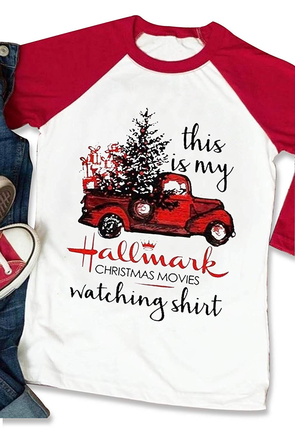 This is My Hallmark Christmas Movie Watching Shirt Womens Christmas Baseball Tee Graphic Raglan T Shirt Tops