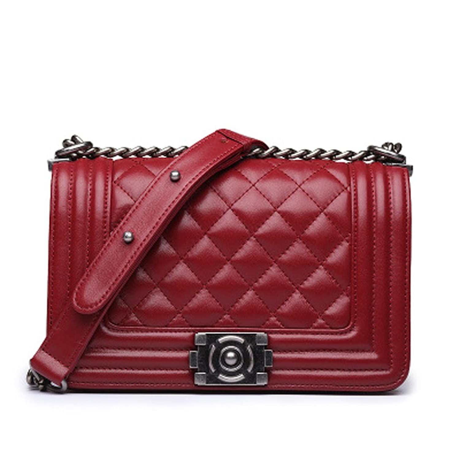 FBLUE Quilted Classic Single Flap Cross Body Messenger Shoulder Purse Bag Chain Strap FB045
