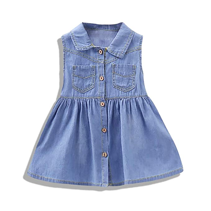 e5705a724061 Amazon.com  Unmega Toddler Baby Girl Denim Dress Sleeveless Long ...