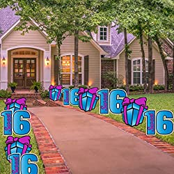 Sweet 16 Pathway Markers - Sweet Sixteen Yard Decorations with 20 stakes (Blue- Purple)