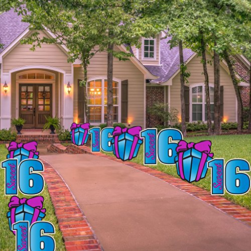 VictoryStore Sweet 16 Pathway Markers - Sweet Sixteen Yard Decorations with 20 stakes (Blue- Purple) -