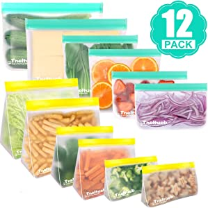 Reusable Storage Bags, 12 Pack Mix Stand up & Flat Freezer Bags (4 Reusable Gallon Bags + 4 Reusable Snack Bags + 4 Reusable Sandwich Bags) Extra Thick Leakproof Ziplock Bag