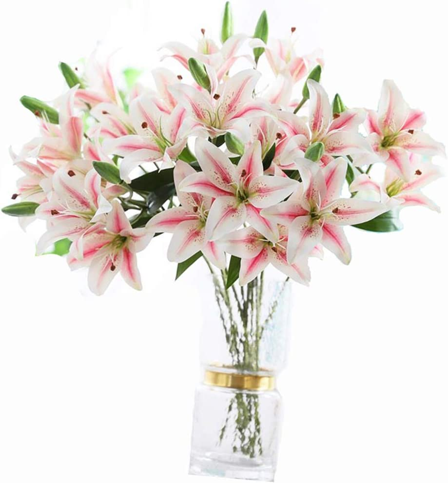 LNHOMY 6 Pack Artificial Lily Flowers Full Bloom Fake Latex Real Touch Artificial Flower Bouquets with 3 Heads Wedding Party Decor Home Décor (Pink)