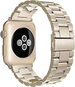 Simpeak Band Compatible with Apple Watch 38mm 40mm Series 6 SE 5 4 3 2 1, Women Men Solid Stainless Steel Business Band Strap Replacement for iWatch 38 40, Champagne Gold