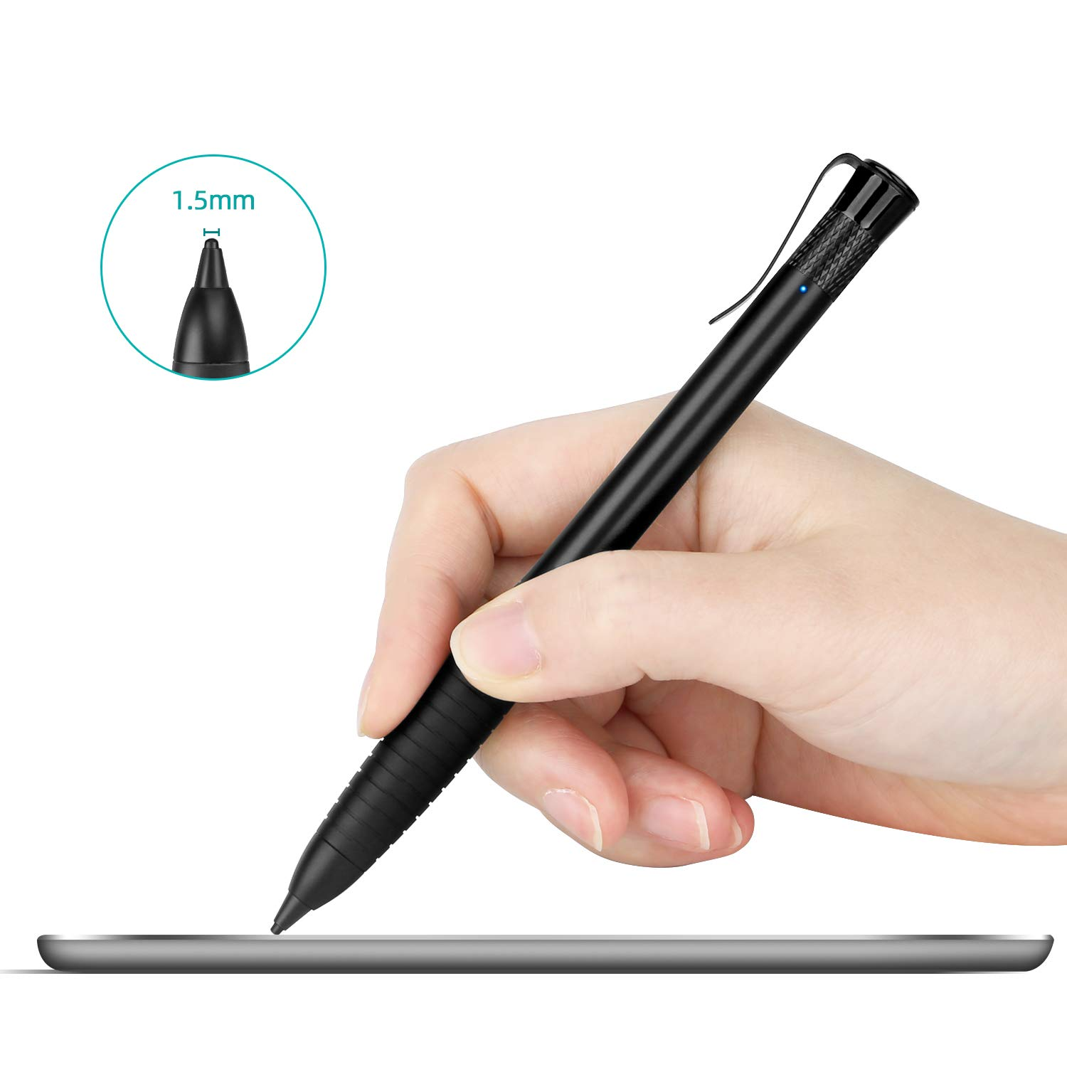 MEKO 2nd Generation 1.5mm Fine Tip Active Stylus Pen for Apple iPad Digital Pencil Compatible with All Touchscreen Cellphones, Tablets- Black