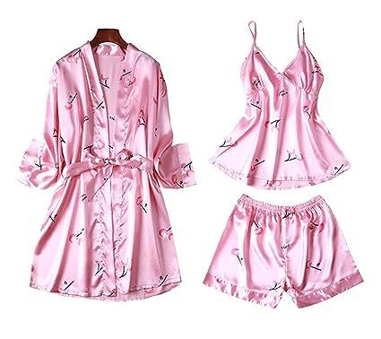 Black Temptation Traje de Tres Piezas Pijama de Verano para Mujer, Kimono de Estilo Japonés