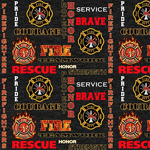 - Firefighter Cotton Fabric -Fireman Cotton FABRIC-100% Cotton-Sold by The Yard-Firetrucks Cotton Fabric