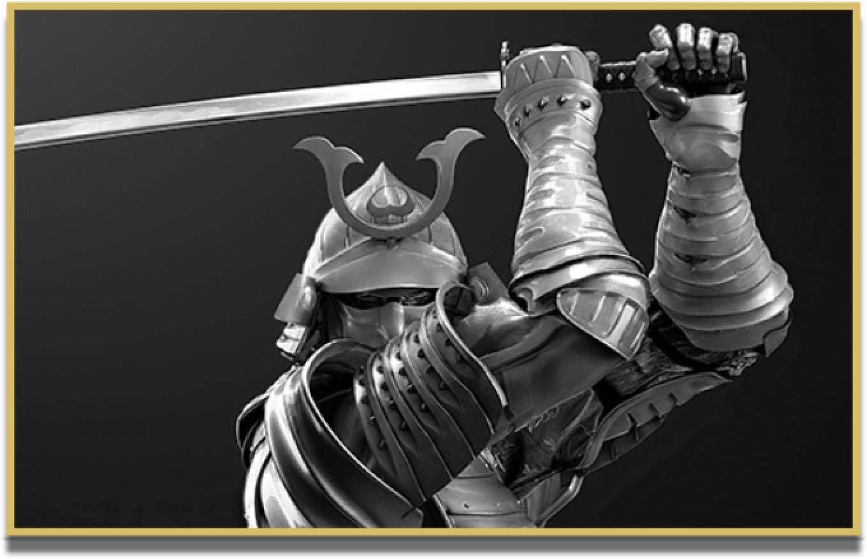 ZQXXX Armadura samurái japonés con espada samurái imagen pintura arte sala de estar decoración del hogar Cuadros-50x70cm marco de madera