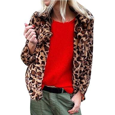 DOGZI Abrigo Mujer Invierno, Estampado de Leopardo Piel ...