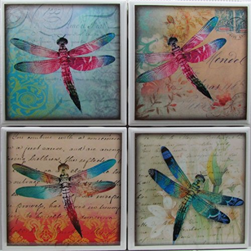 Dragonfly Coaster Tile - Ceramic Tile Coasters - Dragonfly - Set of 4 - Custom Made To Order - Check out more designs by typing in - Made Perfect Coaster Company - We Carry Personalized Stone & Monogram Coasters