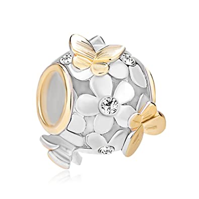 a3181215b Uniqueen Jewellery 925 Sterling Silver New Style Butterfly Flower Charms  Beads with Crystal Bead Fit Bracelet (April Birthstone): Amazon.co.uk:  Jewellery