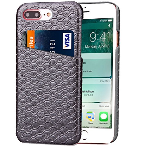 iPhone 8 Plus Funda piel PU Case Cover Carcasa Tapa trasera piel vegana premium con cartera para Apple iPhone 8 Plus original - Ultrafina con bolsillo tarjetero. B