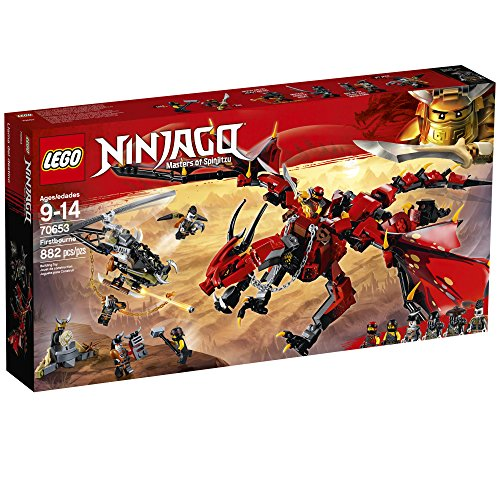 61iw2pdYP1L - LEGO NINJAGO Masters of Spinjitzu: Firstbourne 70653 Ninja Toy Building Kit with Red Dragon Figure, Minifigures and a Helicopter (882 Pieces)