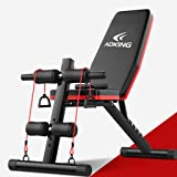 Riforla Home Gym Adjustable Weight Bench Foldable Workout Bench Sit Up AB Incline Abs Bench Flat Fly Press Fitness Rope Weight Capacity 600LBS