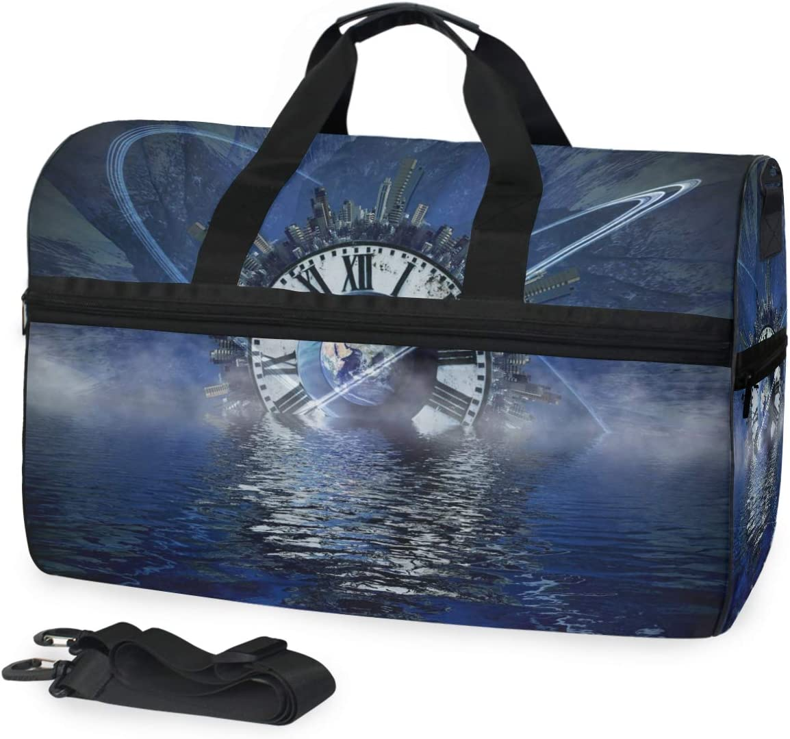 FAJRO Gym Bag Travel Duffel Express Weekender Bag Blue Clock Carry On Luggage with Shoe Pouch