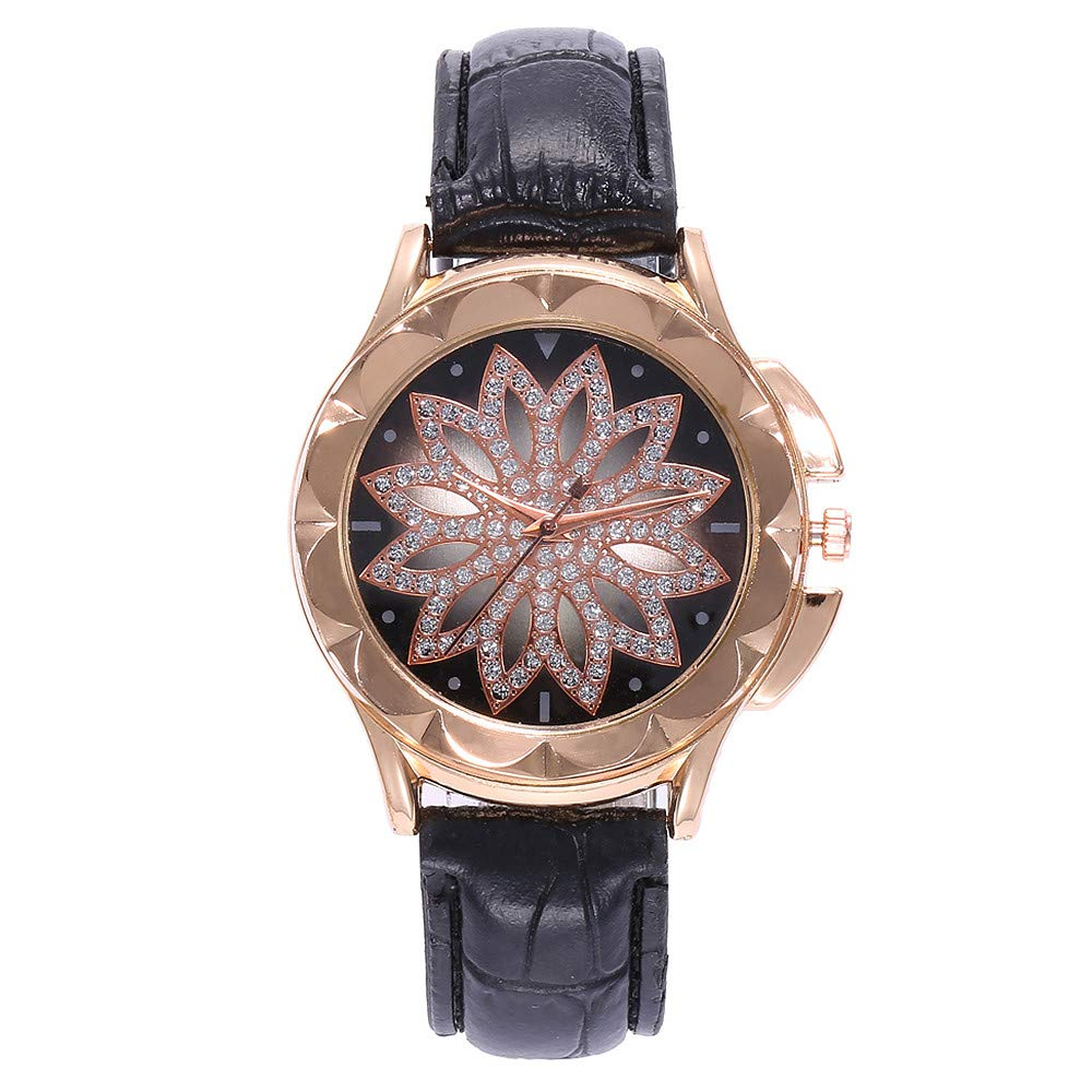 liuxuelifg3☀ Women's Luxury Diamond Flower Dial Watch with Soft Leather Band, Quartz Women Watches On Sale Clearance