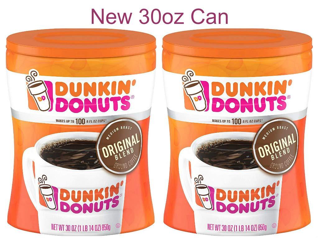Dunkin' Donuts Original Blend Medium Roast Ground Coffee, 30 oz Can 2-Pack