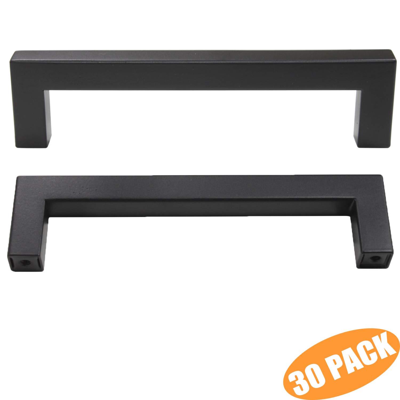 Probrico 30 Pack Modern Kitchen Cupboard Pulls Hardware Black Square Bar Cabinet Door Handles Dresser Knobs Set Hardware 5'' Hole Spacing
