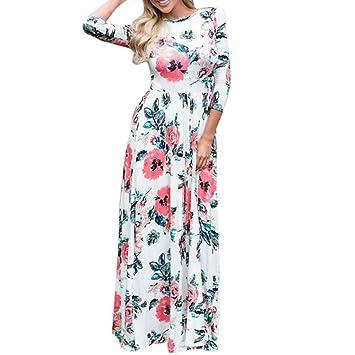 23662bb7f5 Womens Floral Long Dress Long Sleeve Evening Party Summer Beach Spring Dress  Meyerlbama (L