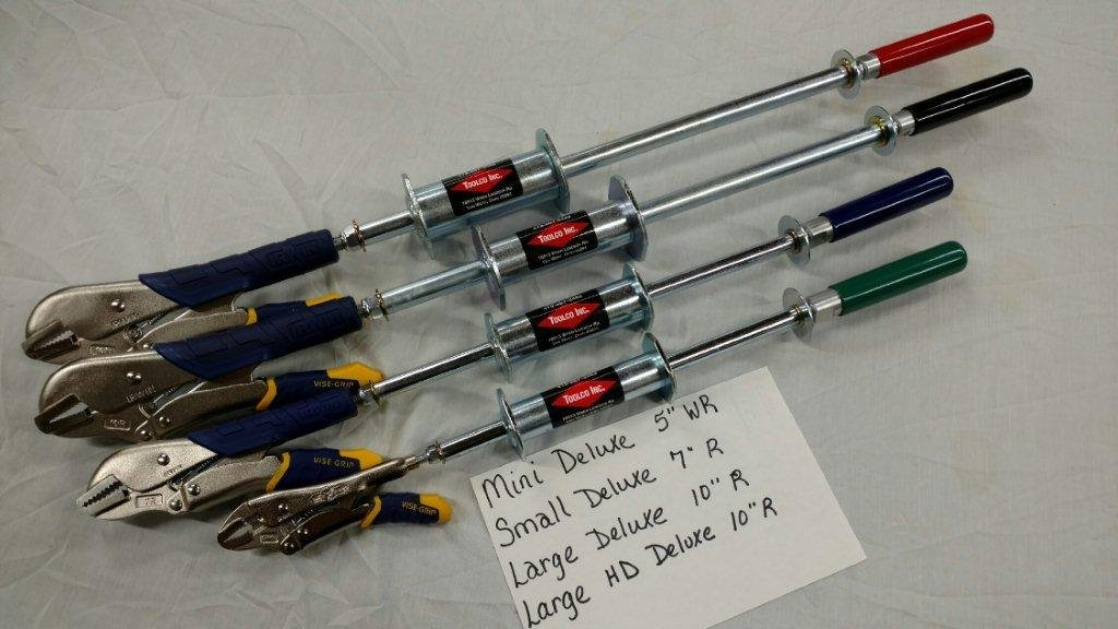 Set of 4 slammer hammer (Heavy Duty, Large, Small, Mini) with Deluxe Vise Grips by Toolco Inc.