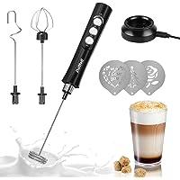 Espumador de leche de mano, Dallfoll mini fabricante eléctrico recargable por USB para café de leche, 3 velocidades…
