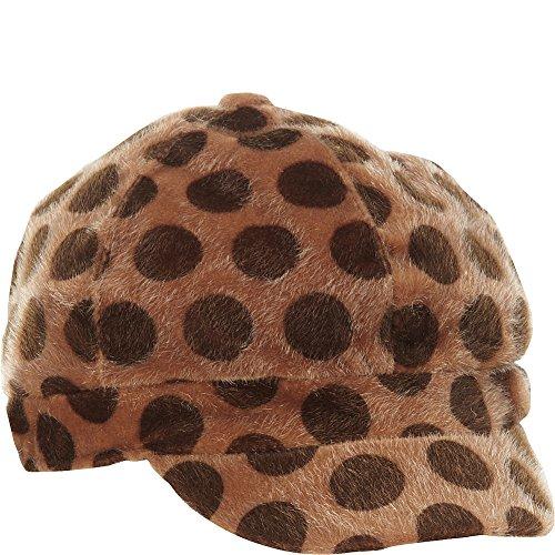 Magid Polkadot Faux Fur Newsboy Cap (Camel)