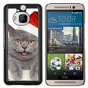LECELL--Funda protectora / Cubierta / Piel For HTC One M9Plus M9+ M9 Plus -- British Shorthair gato azul ruso de Navidad --
