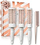 Lily England Round Brush Set - Round Blow Drying Barrel Hairbrush Set & Comb - White & Rose Gold