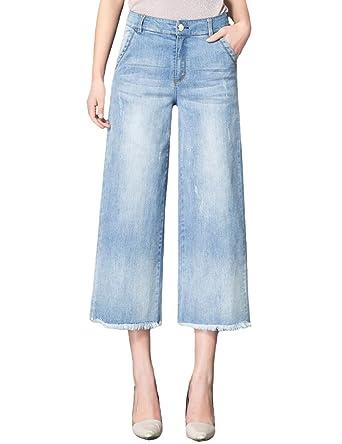 3d1fe94f0aef SUGIRLS Women's Stretch Wide Leg Cropped Palazzo Jeans Pants Tassel Hem L