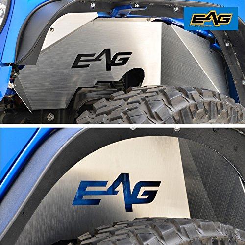 EAG Silver Front and Rear Inner Fender Liners Kits for 07-18 Jeep Wrangler JK (Inner Rear Fender)