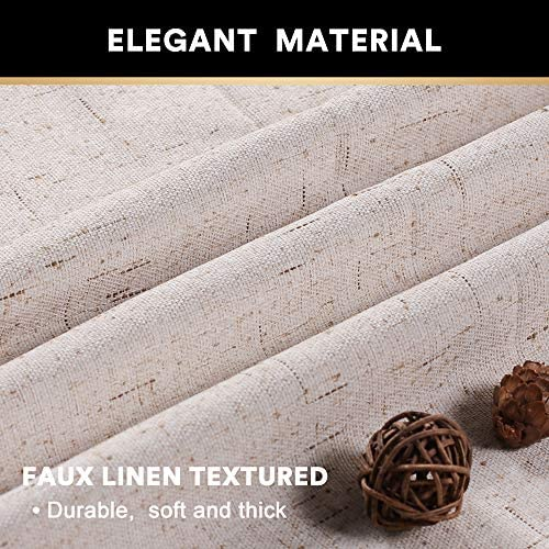 Primitive Textured Linen 100 Blackout Curtains for Bedroom Living Room Energy Saving Window Treatment Curtain Drapes, Burlap Fabric with White Thermal Insulated Liner 52 x 108 Inch, Natural