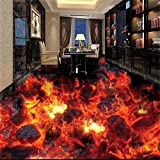 LHDLily 3D Wallpaper Mural Wall Sticker Thickening Pvc Flooring Custom Bathroom Flooring Flame Combustion Waterproof Floors Photo For Walls 400cmX300cm