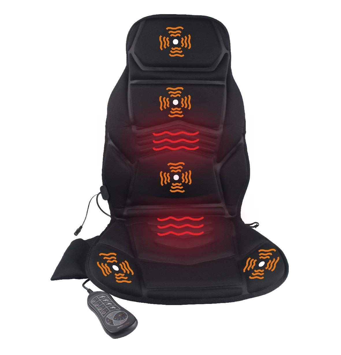 IDODO Vibration Back Massager Seat Cushion with Heat, Electric Massage Chair Pad with 5 Vibrating Motors & Heating Therapy to Release Stress and Fatigue for Home Office or Car Use