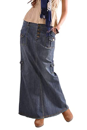 harmonische Farben professionelles Design das billigste Damen Maxi - Rock Multi Pocket Vintage - Jeans und Lange ...