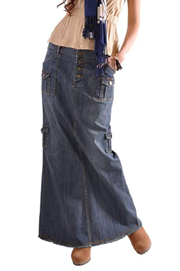 Suvimuga Mujer Maxi Falda Multi-Bolsillo Botn Vintage Denim Faldas ...