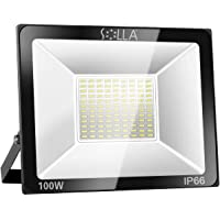 SOLLA 100W LED Flood Light, IP66 Waterproof, 8000lm, 550W Equivalent, Super Bright Outdoor Security Lights, 3000K Warm White, Outdoor Lighting for Garage, Garden, Yard and Parking Lot