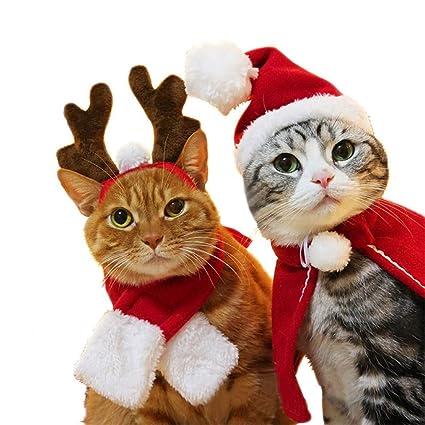 kungfu Mall 1 Juego (4 Piezas) de Gorro de Navidad para Mascotas, Bufanda, Cuernos de Papá Noel, Gorro Ajustable con Cuello y Pajarita, Lindo Disfraz ...